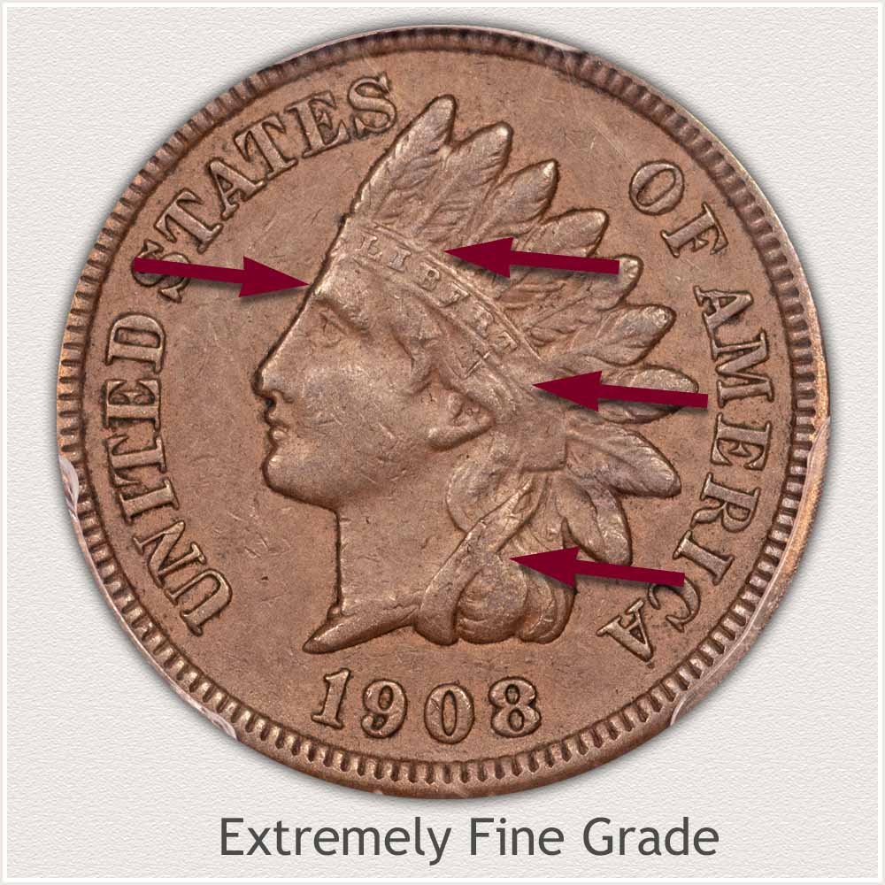 Obverse of Indian Penny in Extremely Fine Grade