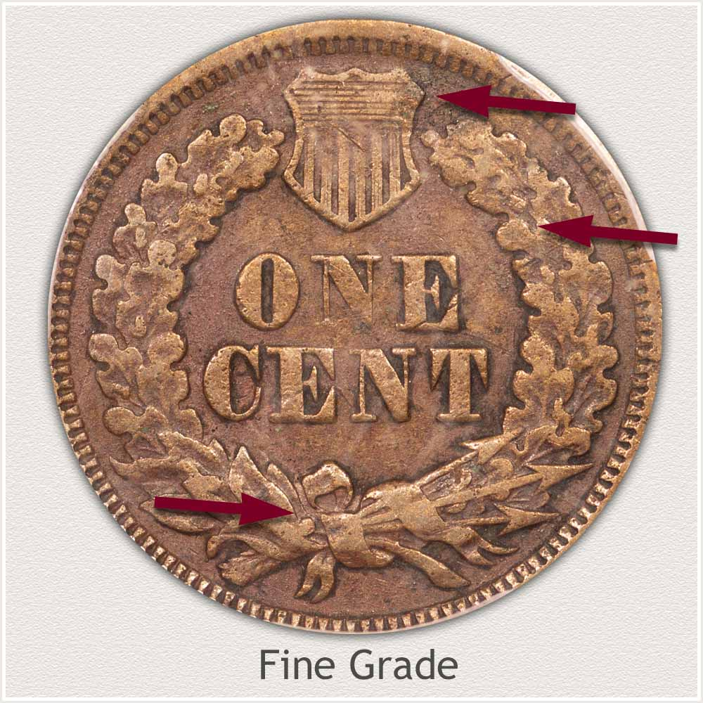 Reverse of an Indian Penny in Fine Grade