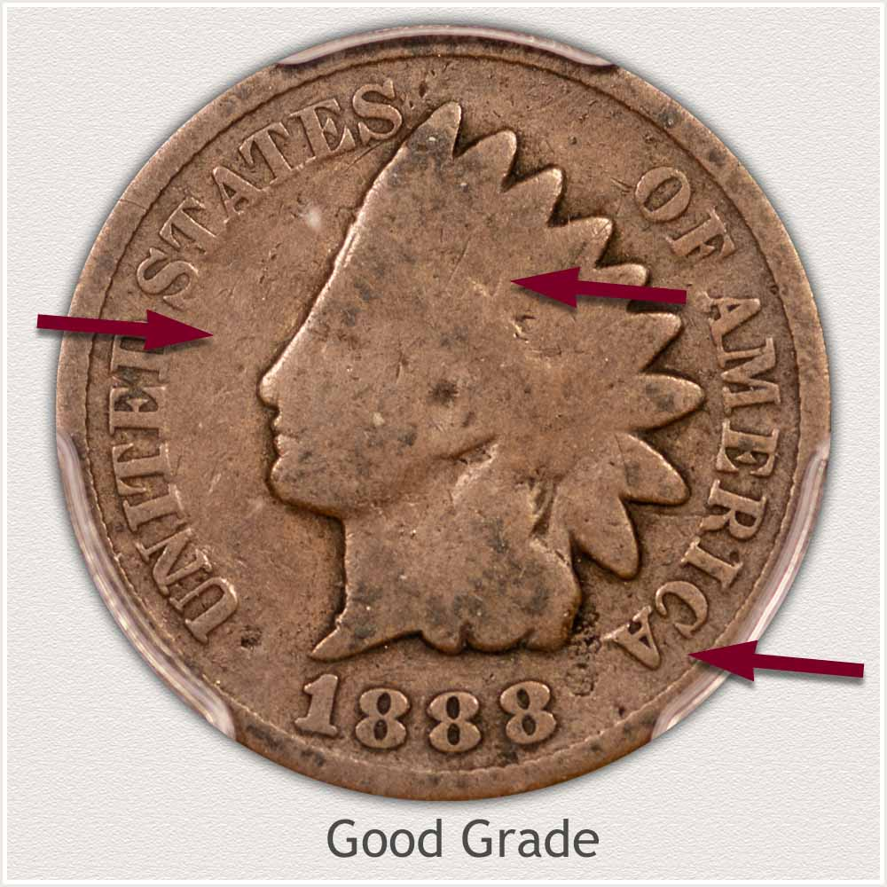 Obverse of an Indian Penny in Good Grade