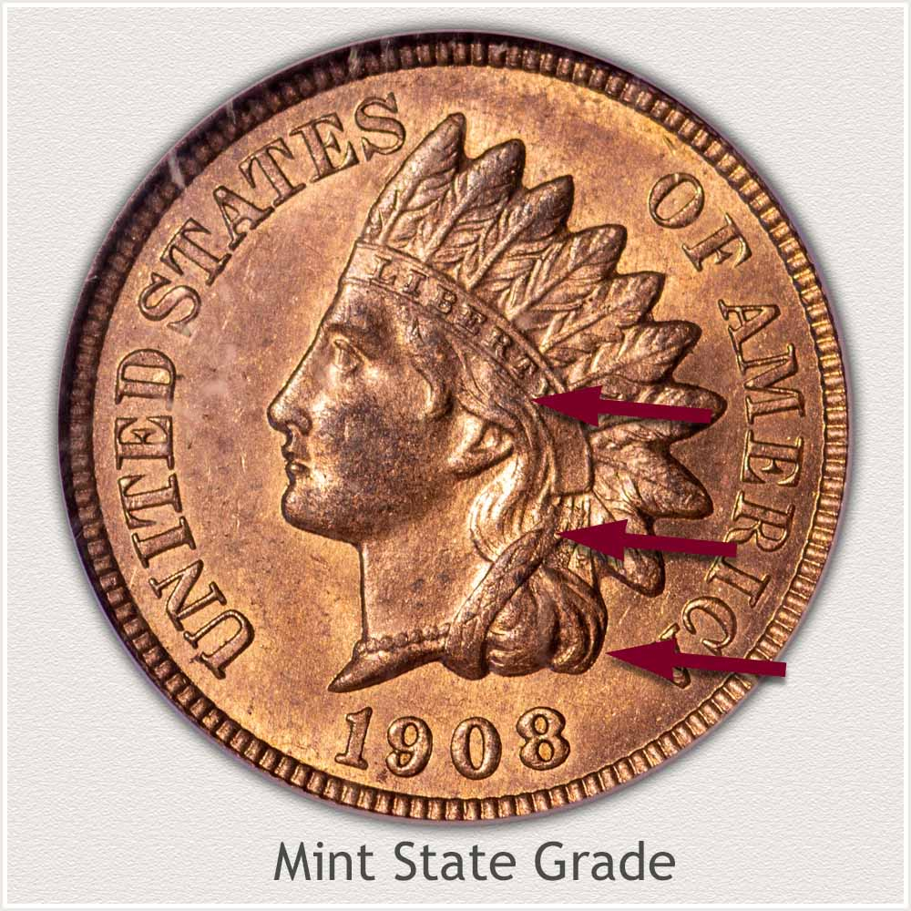 Obverse of Indian Penny in Mint State Grade