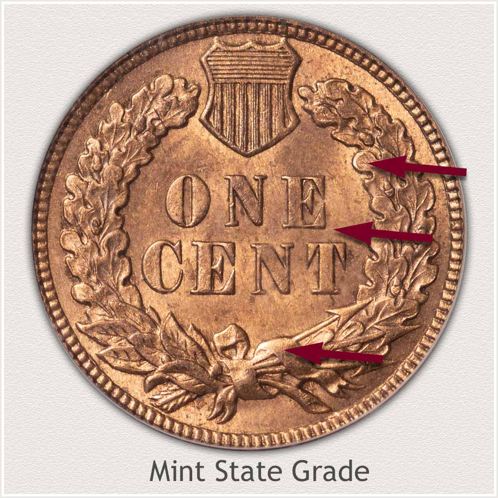 Reverse of Indian Penny in Mint State Grade