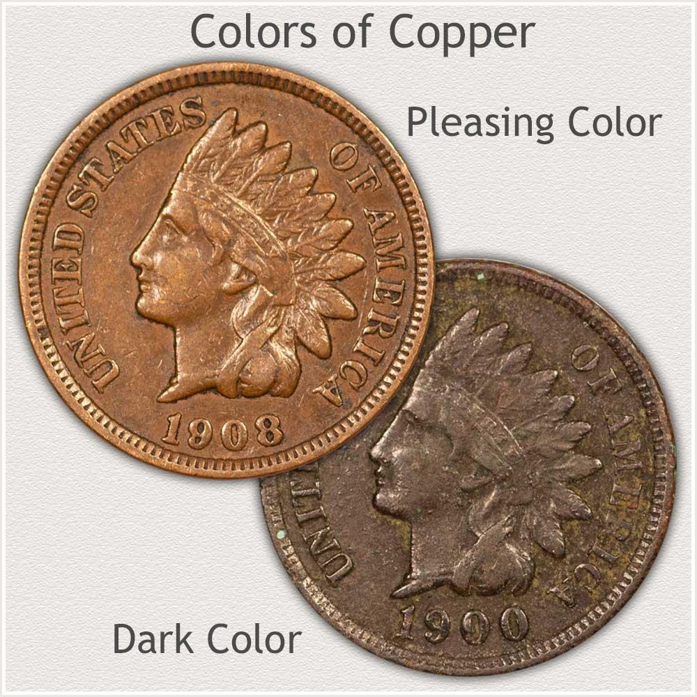 Nice Color vs Dark Color Indian Pennies