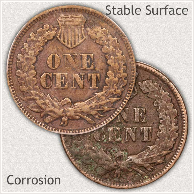 Natural Color Indian Penny and Discolored Penny
