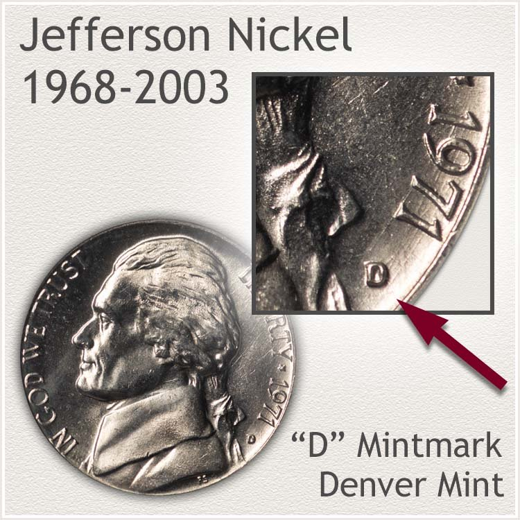 Jefferson Nickel Denver Mintmark Location 1965 to 2003 Era