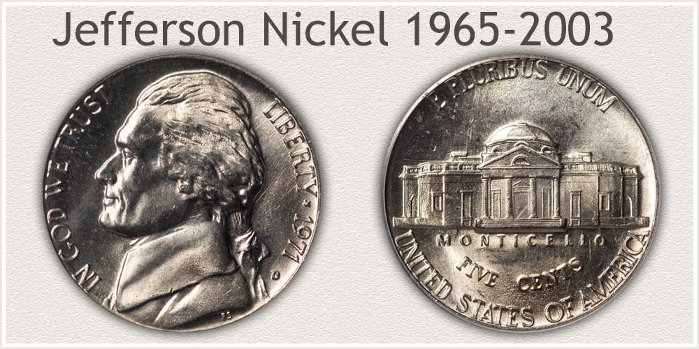 Jefferson Nickel Variety Minted 1965 to 2003