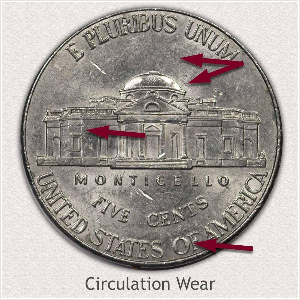Reverse View: Circulation Wear Modern Jefferson Nickel