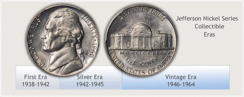 Eras of Collectible Jefferson Nickels