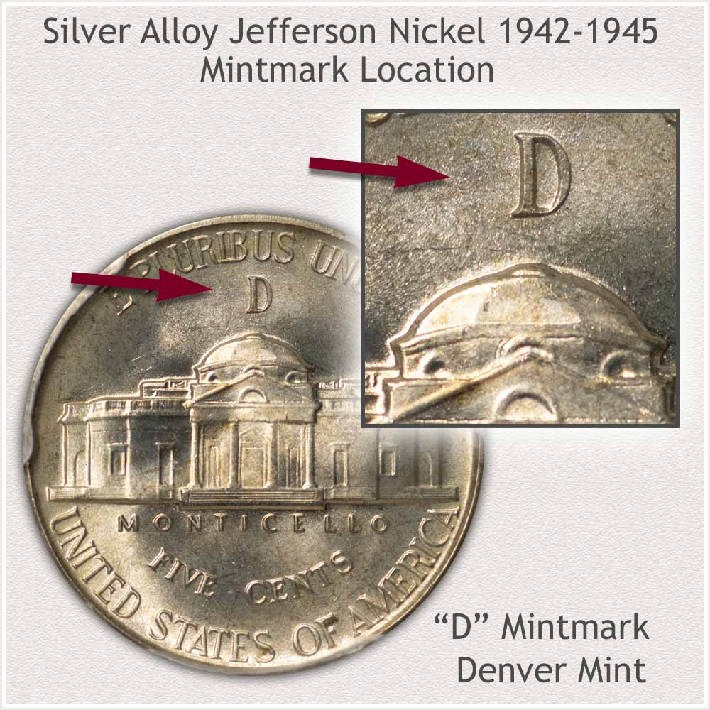 Obverse and Reverse Silver Alloy Jefferson Nickel, Denver Mint
