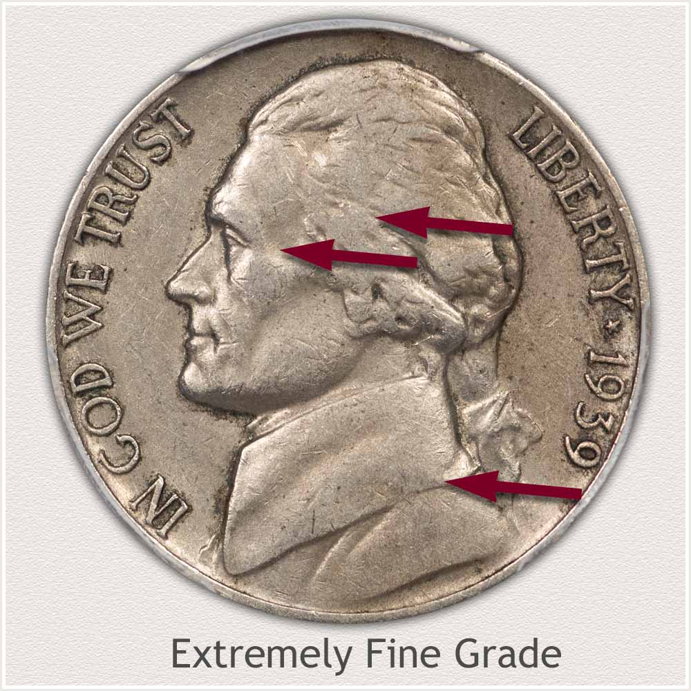 Obverse View: Extremely Fine Grade Jefferson Nickel