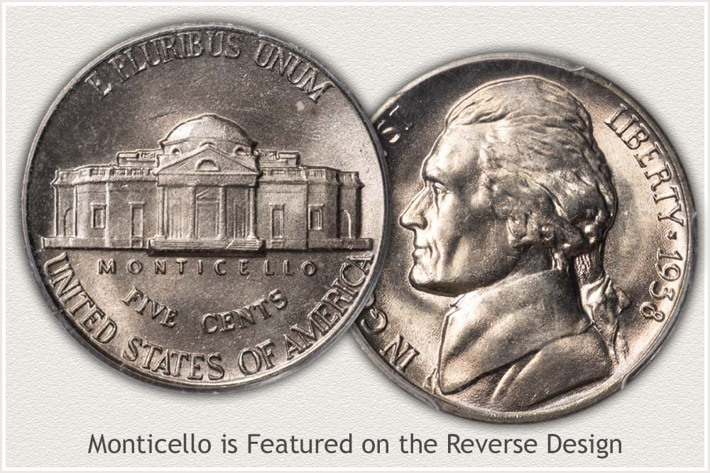 Jefferson Nickels Feature Monticello on Reverse