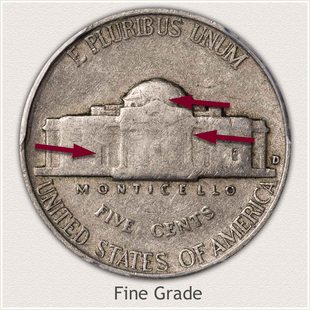 Reverse View: Fine Grade Jefferson Nickel