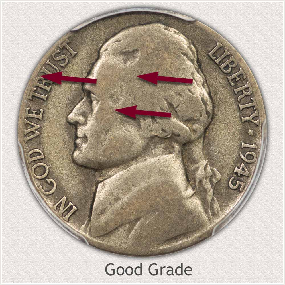 Obverse View: Good Grade Jefferson Nickel