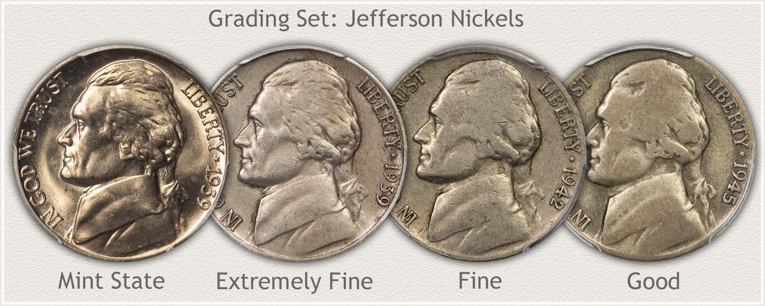 Grade Set of Jefferson Nickels; Grades Mint State, Extremely Fine, Fine, and Good