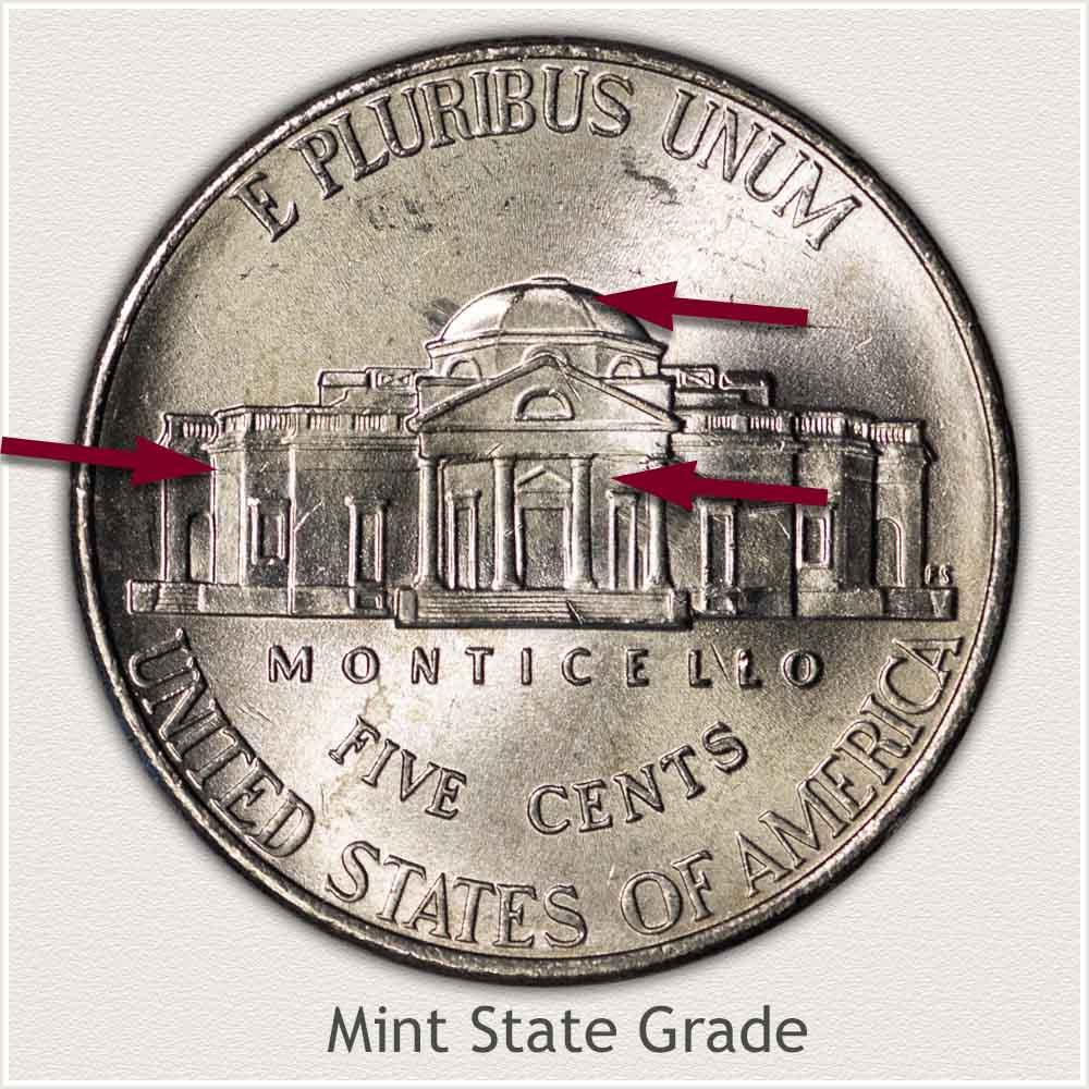 Reverse View: Mint State Grade Modern Jefferson Nickel