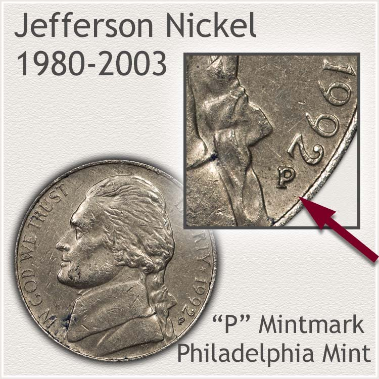 Jefferson Nickel 1980 to 2003 Obverse Philadelphia  Mintmark