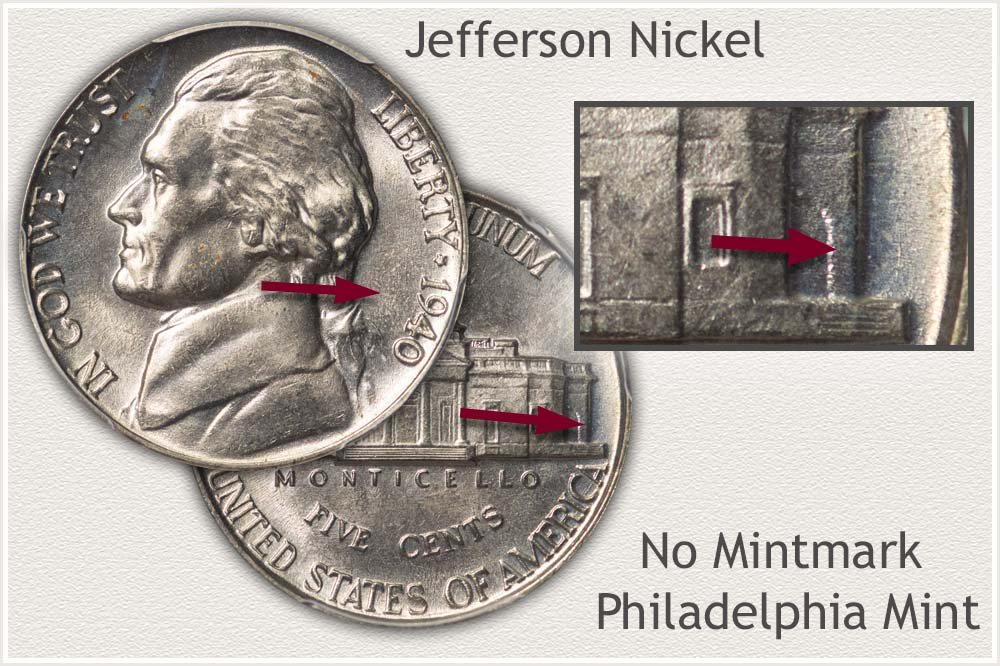 Obverse and Reverse Philadelphia Jefferson Nickel with Date and Mint Identity Highlighted