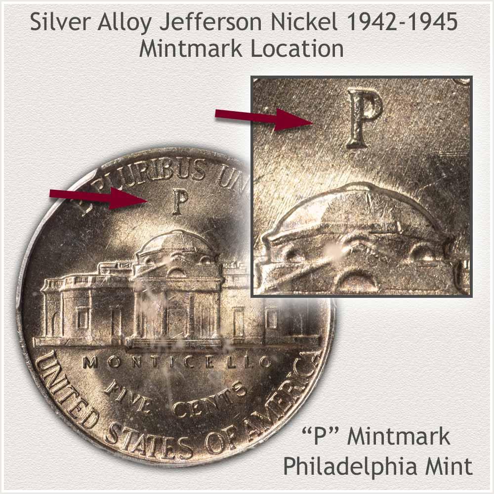 Obverse and Reverse Silver Alloy Jefferson Nickel, Philadelphia Mint