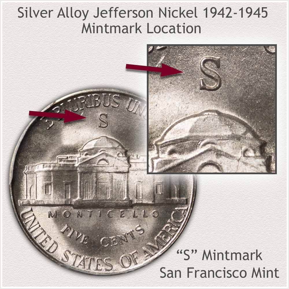 Obverse and Reverse Silver Alloy Jefferson Nickel, San Francisco Mint