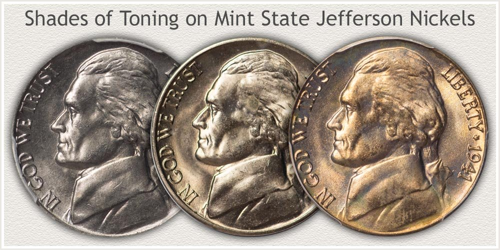 Three Mint State Nickels Displaying Shades of Toning