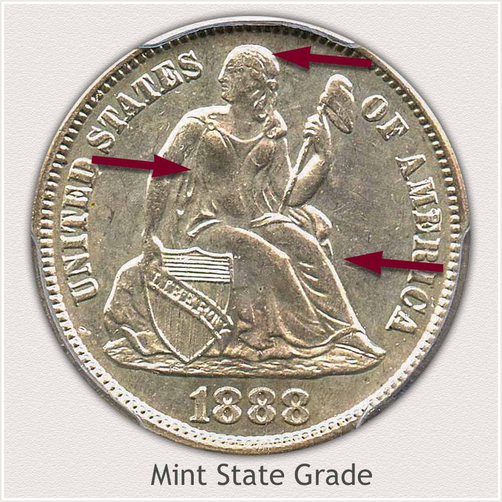 Obverse View: Mint State Grade Legend Obverse-Seated Dime