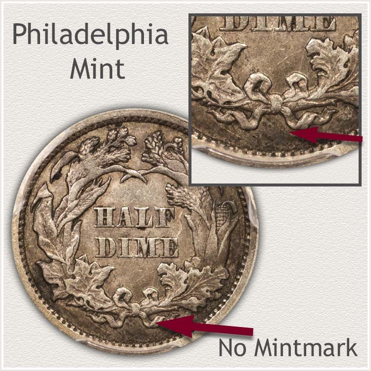 Philadelphia Mint Legend Obverse Seated Half Dime