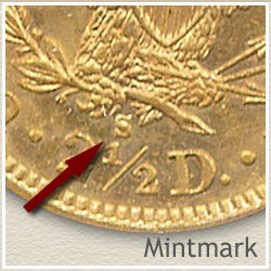 Liberty $2.5 Gold Coin Mintmark Location