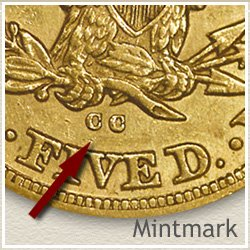 Liberty Five Dollar Gold Coin Mintmark Location