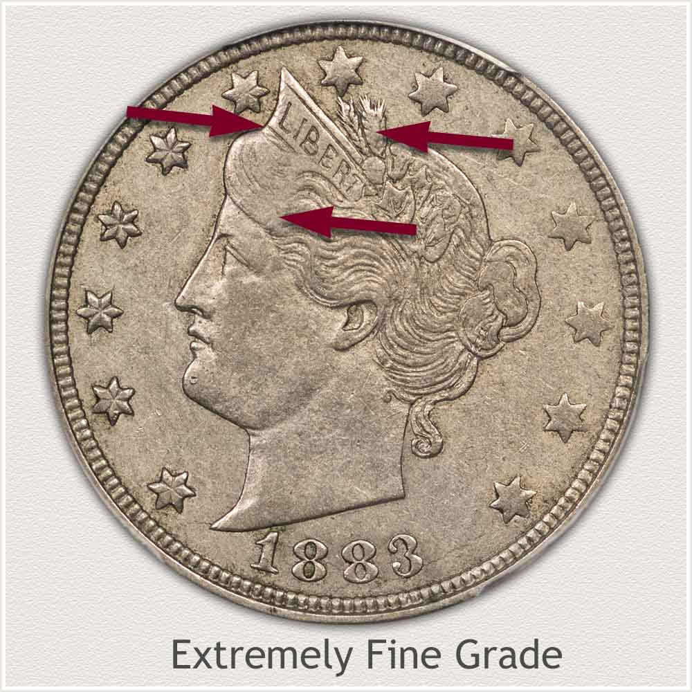Obverse View: Extremely Fine Grade Liberty Nickel