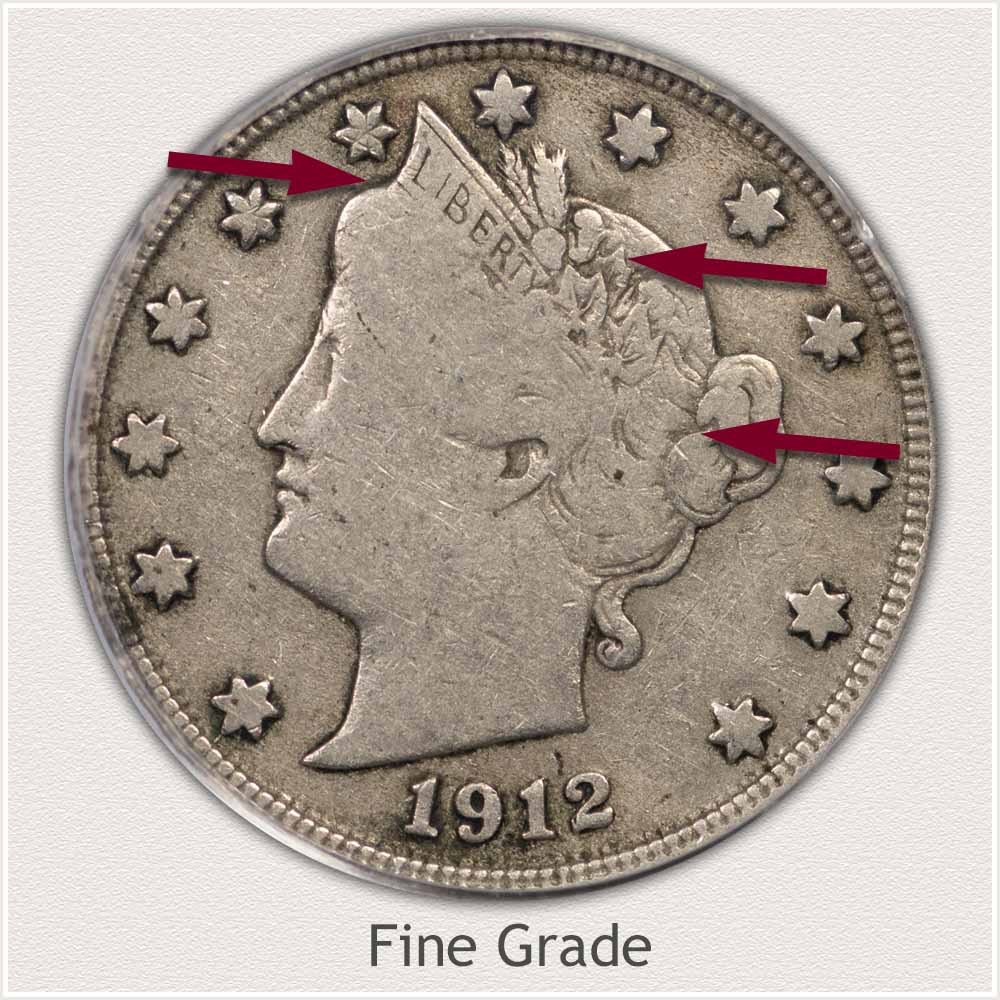 Obverse View: Fine Grade Liberty Nickel