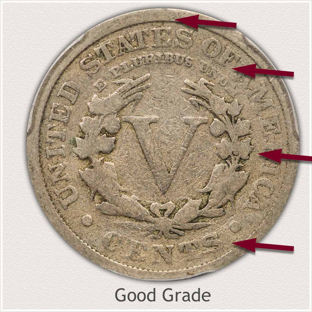 Reverse View: Good Grade Liberty Nickel