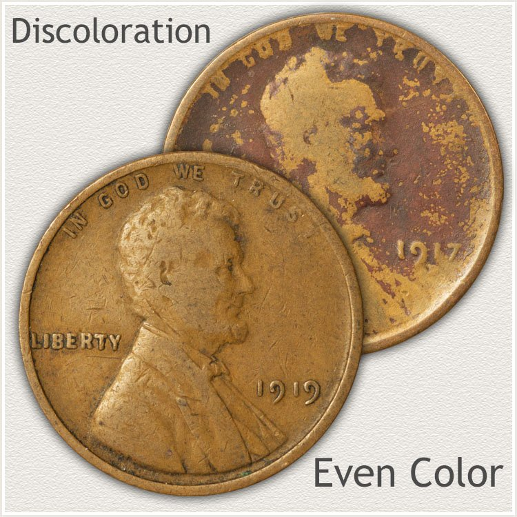 Wheat Cents, Even Color and Discolored Toning