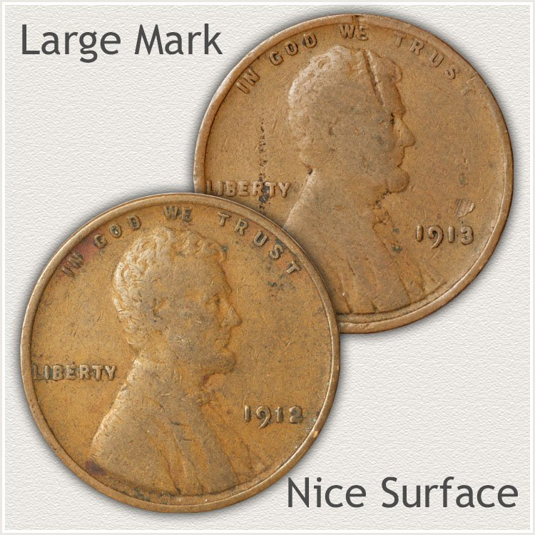 Marred and Unmarred Surfaces of Wheat Cents
