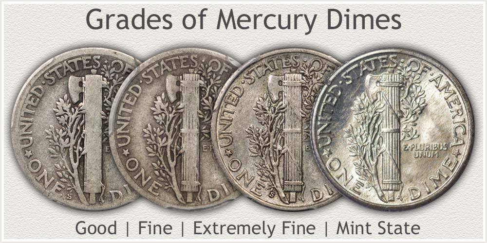 Reverse of Mercury Dimes in Good, Fine, Extremely Fine, and Mint State Condition