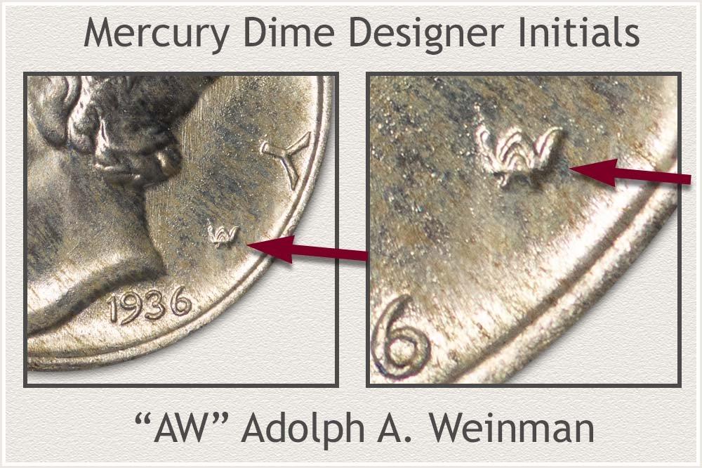 Mercury Dime Designer Initials