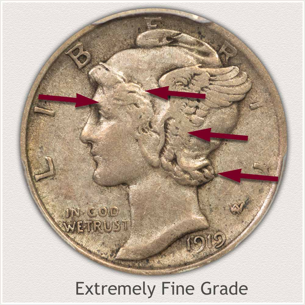 Obverse View: Extremely Fine Grade Mercury Dime