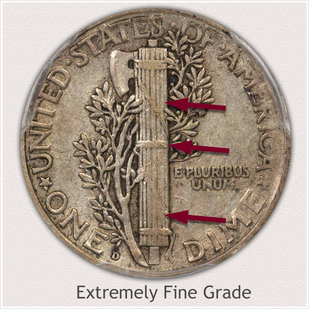 Reverse View: Extremely Fine Grade Mercury Dime