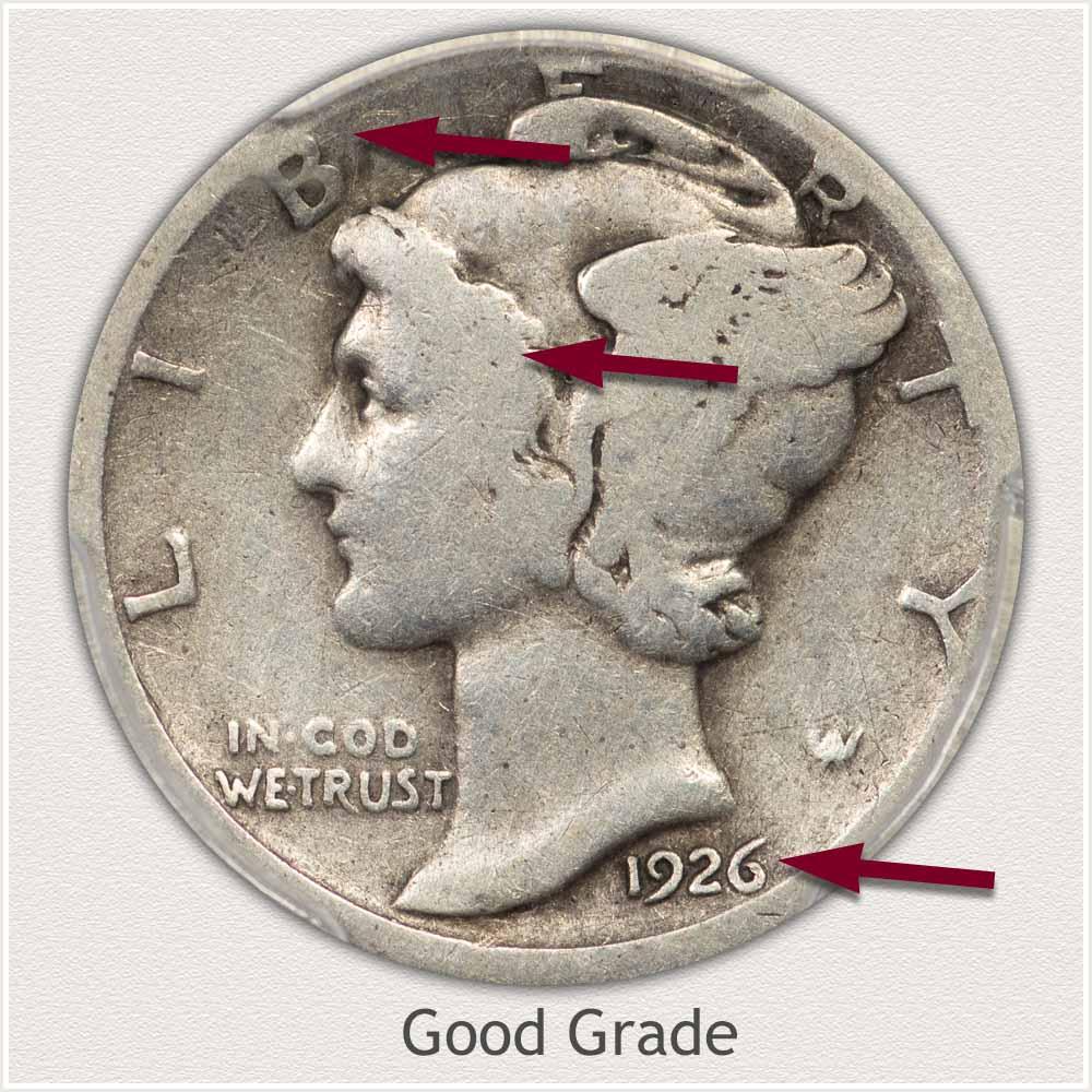 Obverse View: Good Grade Mercury Dime