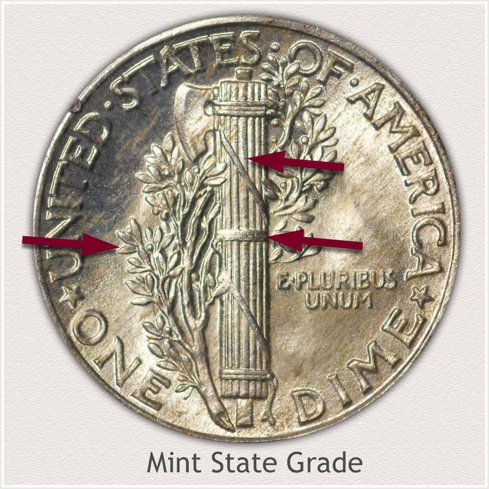 Reverse View: Mint State Grade Mercury Dime