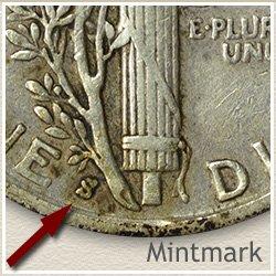 Mercury Dime Mintmark Location