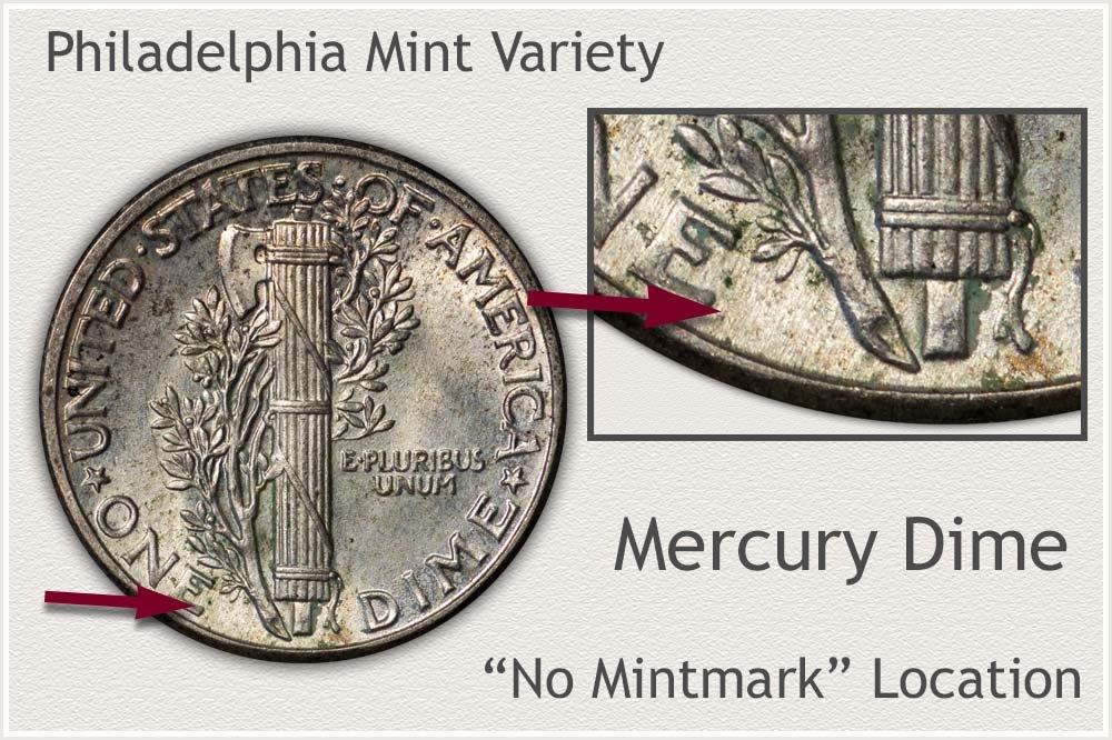 Philadelphia Mint Variety Mercury Dime