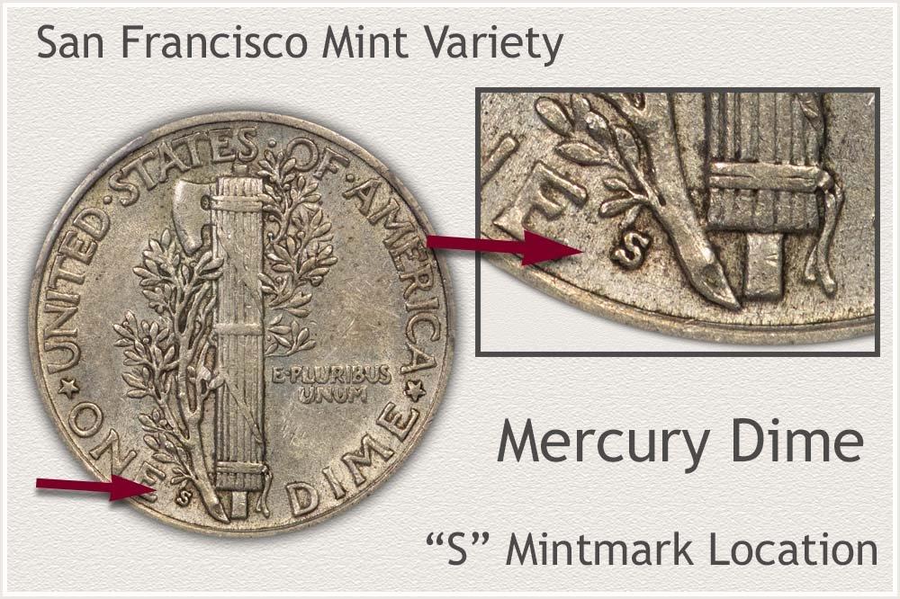 San Francisco Mint Variety Mercury Dime