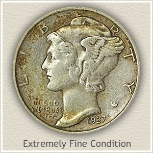 Mercury Dime Extremely Fine Condition