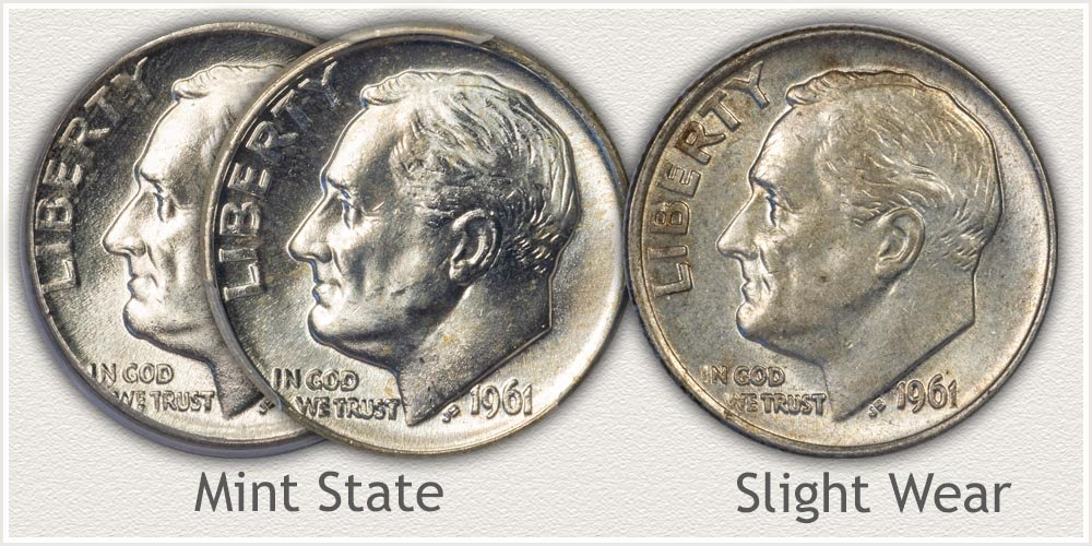 Reverse of Roosevelt Dimes in Mint State and AU Condition