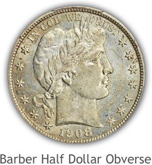 Mint State Barber Half Dollar Obverse