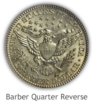 Mint State Barber Quarter Reverse