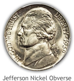 Mint State Jefferson Nickel Obverse
