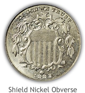 Mint State Shield Nickel Obverse