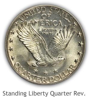 Mint State Standing Liberty Quarter Reverse
