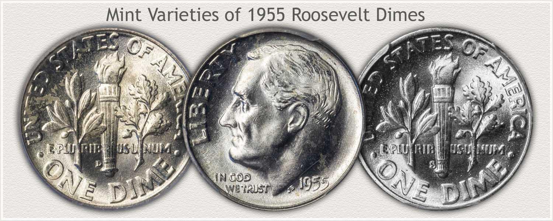 Three Mint Varieties of 1955 Roosevelt Dimes
