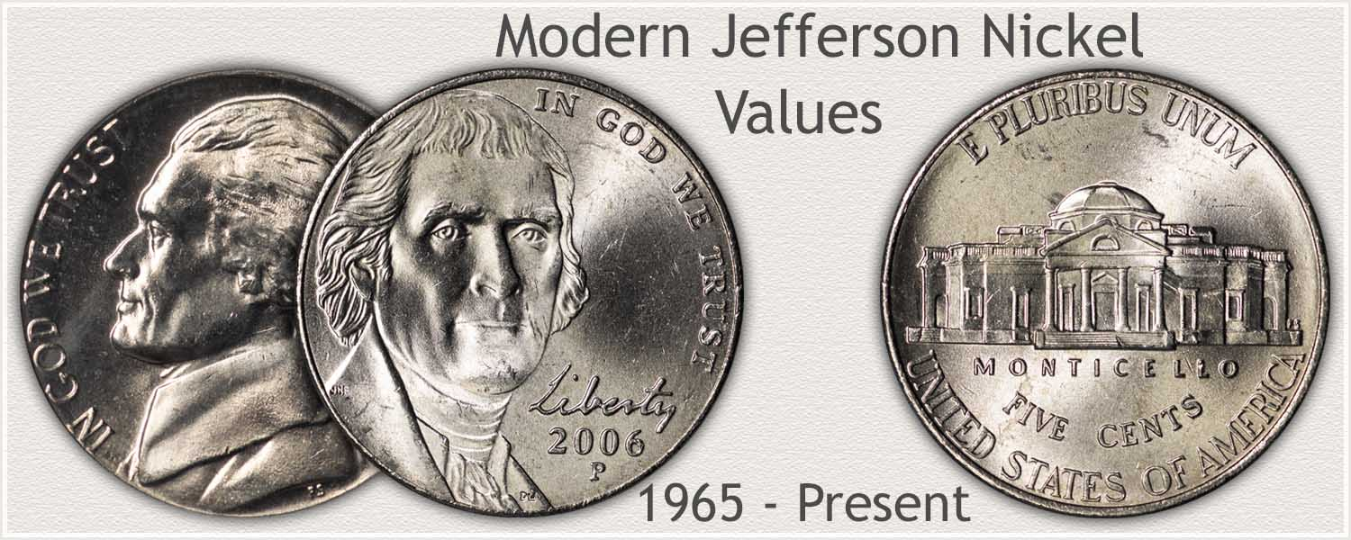 Obverse and Reverse Modern Era Jefferson Nickels